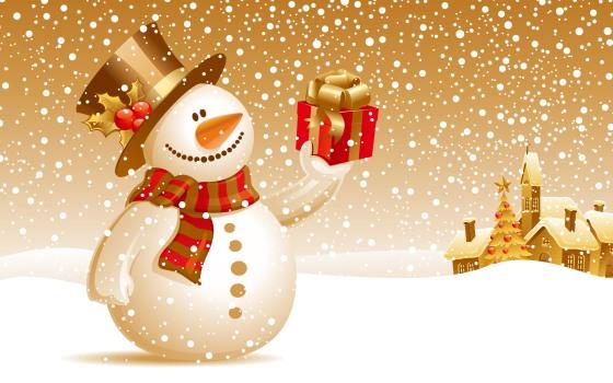 snowman holding a box